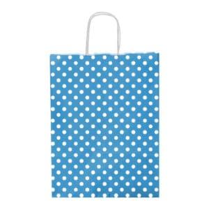Açık Mavi Renk Puantiyeli Orta Boy Kağıt Çanta 25x31cm 25li