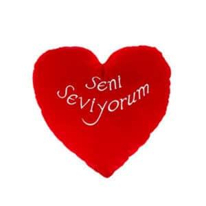 Seni Seviyorum Kadife Kalp Yastık 36cm