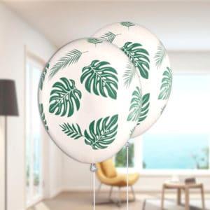 Tropikal Yaprak Görselli Beyaz Balon 10lu