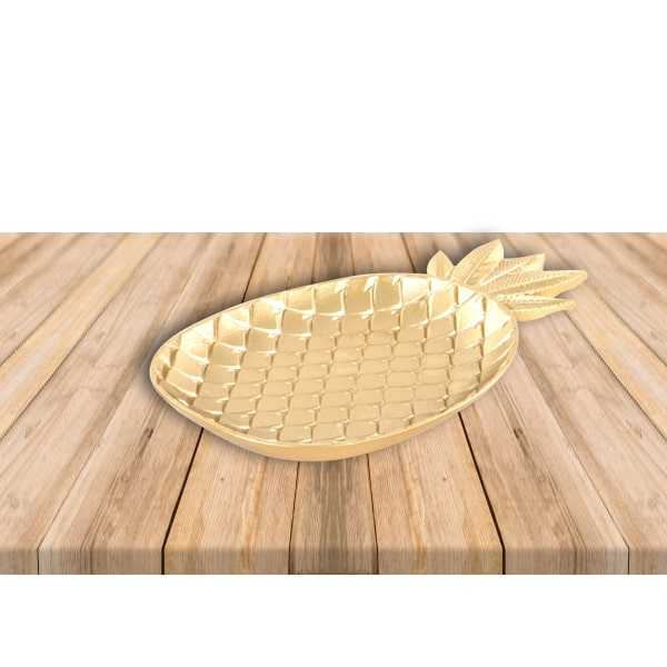 Altın Ananas Şekilli Tabak 35 x 21cm 1 Adet