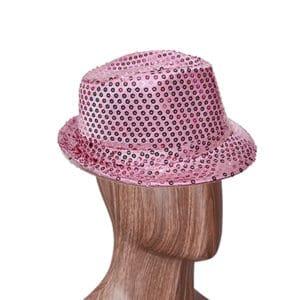 Pembe Renk Payetli Fötr Şapka 1 Adet