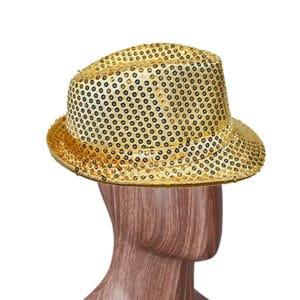 Altın Renk Payetli Fötr Şapka