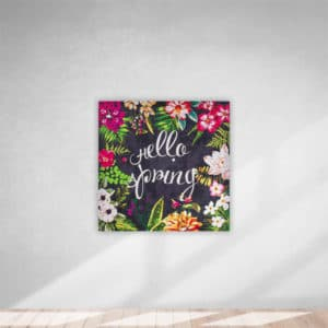 Kanvas Tablo Hello Spring Gri 40x40cm 1 Adet