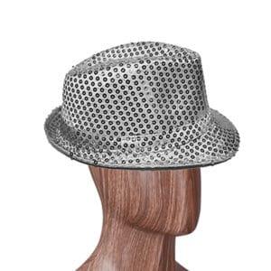 Gümüş Renk Payetli Fötr Şapka
