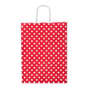 Kırmızı Renk Puantiyeli Büyük Boy Kağıt Çanta 31x41cm 25li