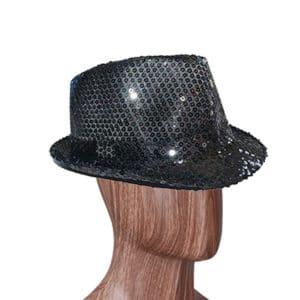 Siyah Renk Payetli Fötr Şapka 1 Adet