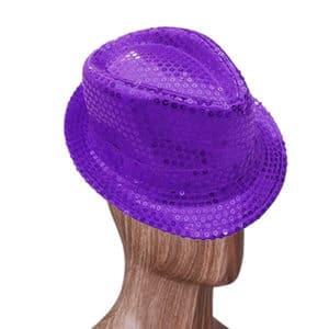 Mor Renk Payetli Fötr Şapka