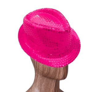 Fuşya Renk Payetli Fötr Şapka