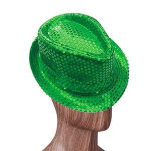 Yeşil Renk Payetli Fötr Şapka