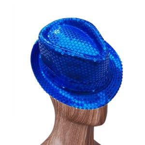 Lacivert Renk Payetli Fötr Şapka