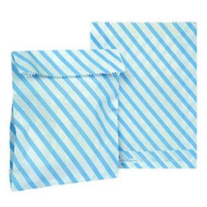 Mavi Çizgili Kağıt Şeker Hediye Poşeti 12li