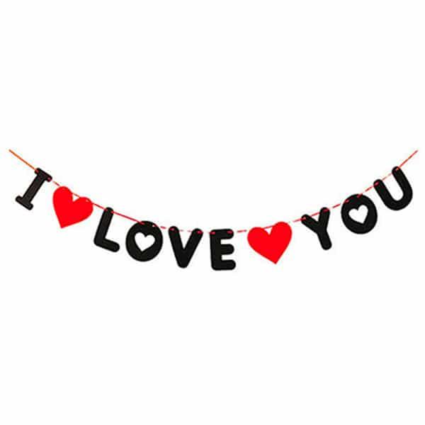 _0025_I Love You Keçe Asma İp Süs 3,20m 1 Adet