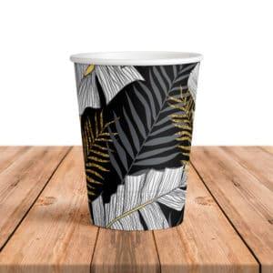 Altın Simli Yapraklar Temalı Siyah Renk Karton Bardak 200cc-8oz 8li