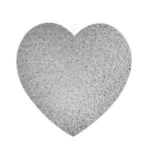 Gümüş Simli Kalp Strafor Dekor Süs 25cm