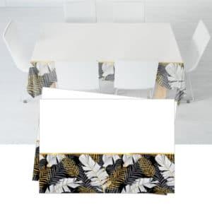 Altın Simli Yapraklar Temalı Siyah Renk Masa Örtüsü 120x180cm