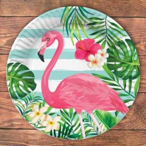 Flamingo Temalı Karton Tabak 23cm 8li