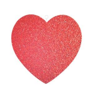 Kırmızı Simli Kalp Strafor Dekor Süs 25cm