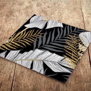 Altın Simli Yapraklar Temalı Siyah Renk Peçete 33x33cm 20li
