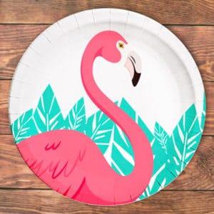 Flamingo Temalı Kağıt Tabak 23cm 8li