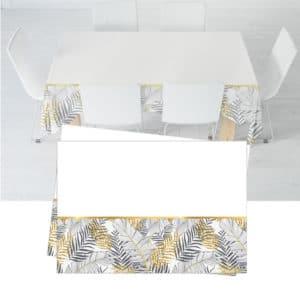 Altın Simli Yapraklar Temalı Beyaz 120x180cm