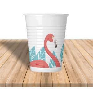 Flamingo Temalı Plastik Bardak 200cc-8oz 8li