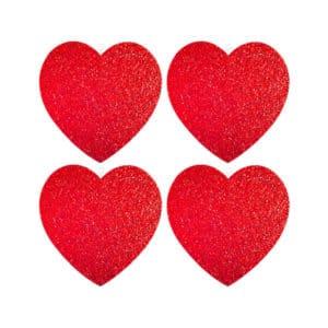 Kırmızı Simli Kalp Strafor Dekor Süs 14cm 4 Adet