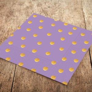 Lila Renk Altın Puantiyeli Kağıt Peçete 33x33cm 20li