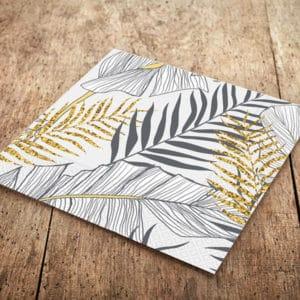 Altın Simli Yapraklar Temalı Beyaz Renk Kağıt Peçete 33x33cm 20li