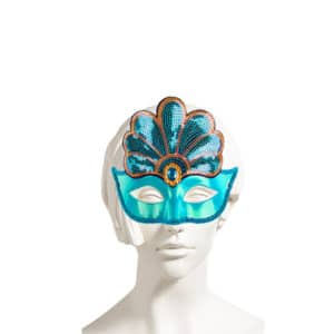 Mavi Renk Payetli Balo Maskesi 1 Adet