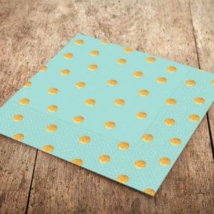 Mint Yeşili Renk Altın Puantiyeli Kağıt Peçete 33x33cm 20li