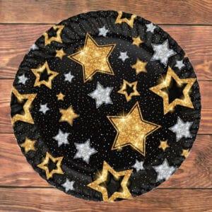 Siyah Yıldızlar Temalı Karton Tabak 23cm 8li