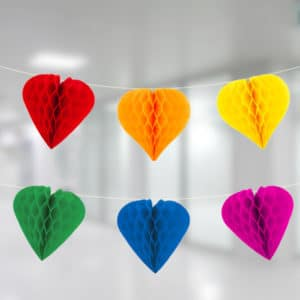 Renkli Kalp Petek İp Süs 12li 4m