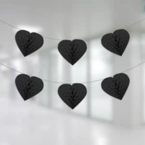 Siyah Renk Kalp Petek İp Süs 12li 4m