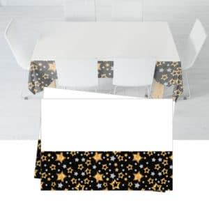 Siyah Yıldızlar Temalı Plastik Masa Örtüsü 120x180cm