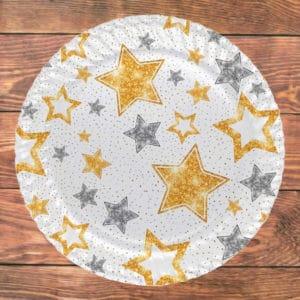 Beyaz Yıldızlar Temalı Karton Tabak 23cm 8li