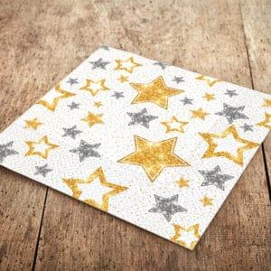 Beyaz Yıldızlar Temalı Kağıt Peçete 33cm x 33cm 20li