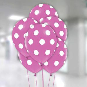 Beyaz Puantiyeli Lila Balon 30cm (12inch) 10lu