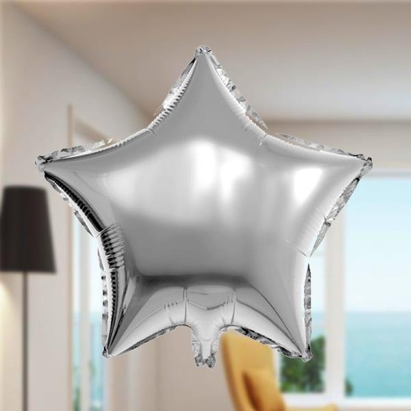 Yıldız Şekilli Folyo Balon 45cm (18 inch) Gümüş 1 Adet