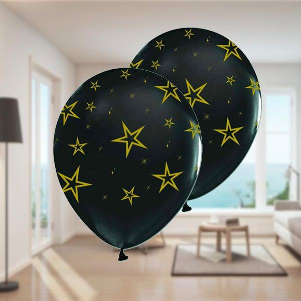 Altın Yıldız Desenli Siyah Balon 10lu