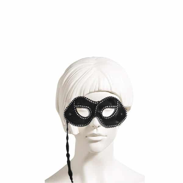 Tutacaklı Kumaş Siyah Balo Maskesi 1 Adet