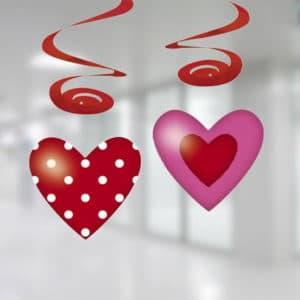 Kırmızı Pembe Kalpler Süs Dalgası 4lü