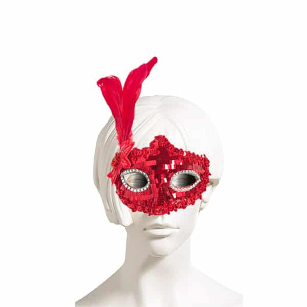 Kırmızı Renk Pullu Tüylü Balo Maske 1 Adet