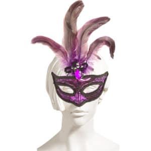 Mor Renk Tüylü Lüks Balo Maske 1 Adet