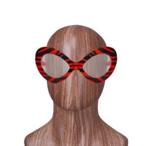 Çizgili Parti Gözlük Kırmızı Renk