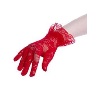 Kırmızı Renk Dantel Eldiven