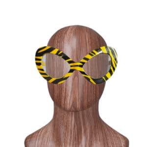 Çizgili Sarı Renk Parti Gözlük 1 Adet