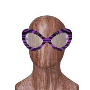 Çizgili Parti Gözlük Mor Renk