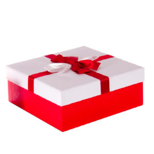 Kurdeleli Beyaz Kapaklı Kırmızı Kare Hediye Kutusu 19,5 x 19,5 x 7,5cm