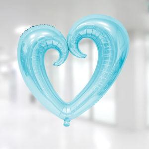 Kalp Şekilli Açık Mavi Renk Kıvrımlı Folyo Balon 96x109cm