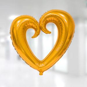 Kıvrımlı Kalp Folyo Balon 96cm x 109cm Altın 1 Adet